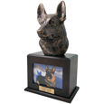German Shepherd Cremation Dog Picture Urn- Walnut